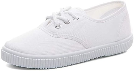 Je-Gou Boy's Girl's Lace up Sneakers Unisex White Canvas Shoes