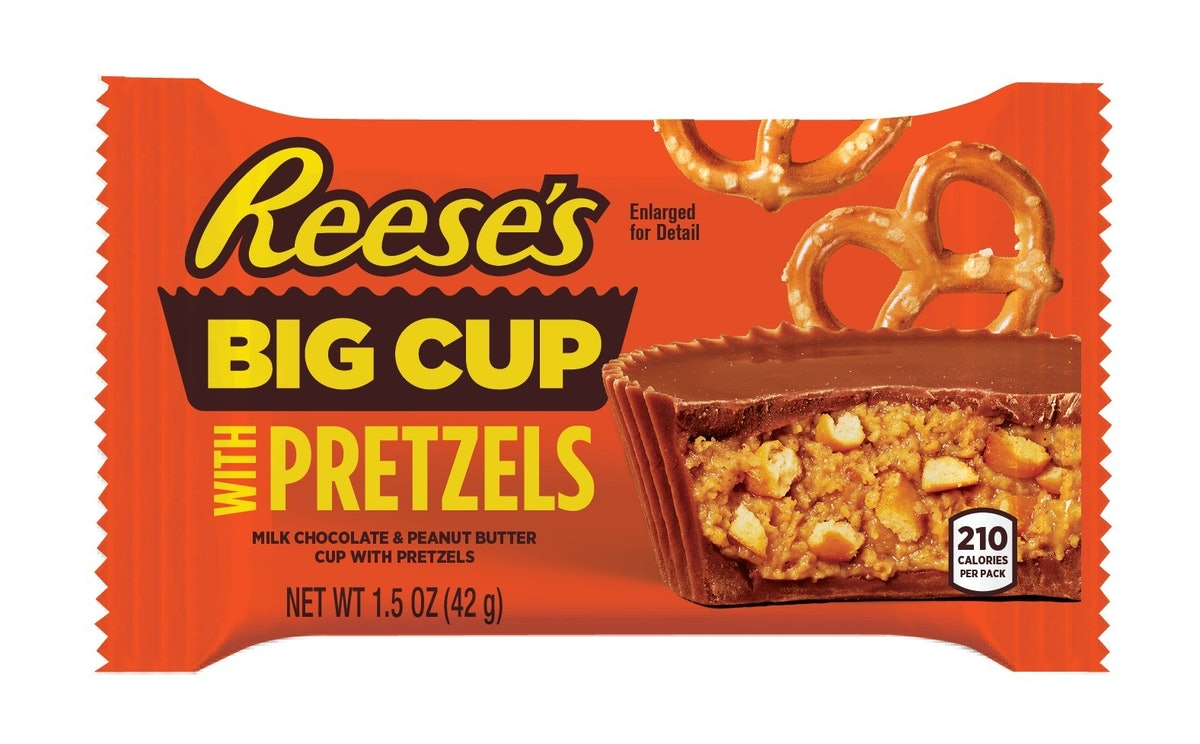 Reese's new Big Cups feature pieces of pretzels.