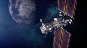An artist's depiction of the Lunar Gateway.