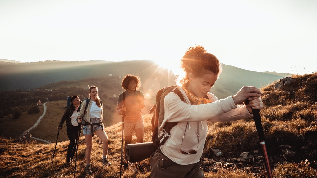 Young group of women mountain hiking
