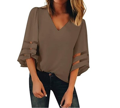 BLENCOT Mesh Panel Blouse