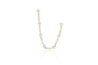 Diamond Double Stud Prong Set Chain Earring