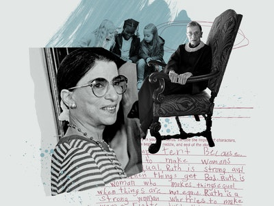 """An illustration of Ruth Bader Ginsberg and some text from Maeve's essay on her idol, including the words, """"Ruth is strong ... Ruth is a woman who makes things equal when things are not equal."""""""