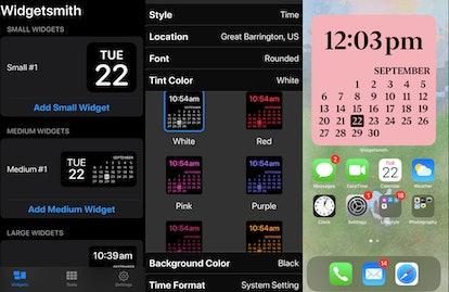 A screenshot of Widgetsmith, an app you use to customize your iOS 14 home screen