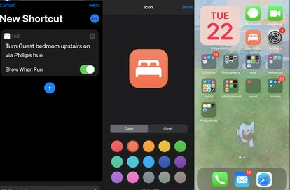 A screenshot of the Shortcuts app, one way to customize your iOS 14 Home Screen