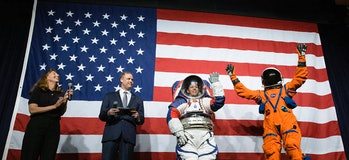 The spacesuits NASA plans to deploy on Artemis missions, unveiled in 2019.