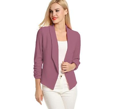 POGTMM Women 3/4 Sleeve, Open Front Cardigan Blazer
