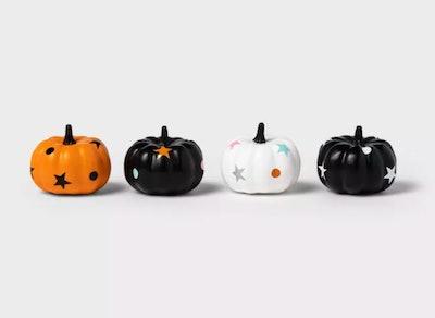 4-Pack Mini Painted Stars Pumpkins