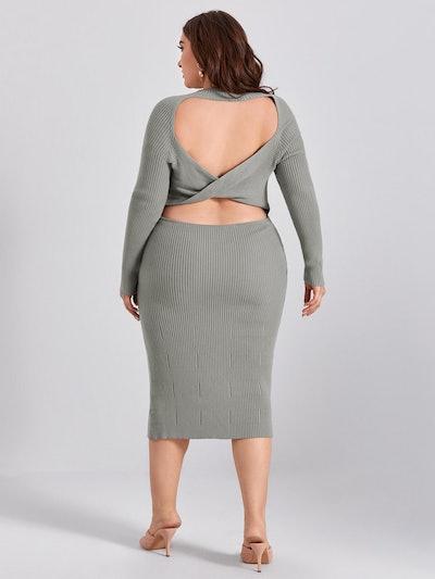 Plus Twist Backless Rib-knit Sweater Dress