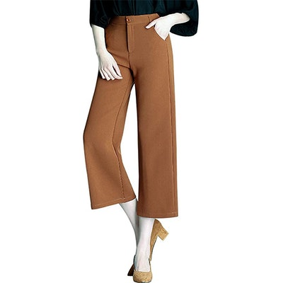 Tanming High Waist Cropped Wide Leg Trousers