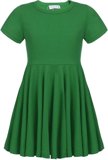 Arshiner Girls Dress Short Sleeve A Line Swing Skater Twirl Summer Dress