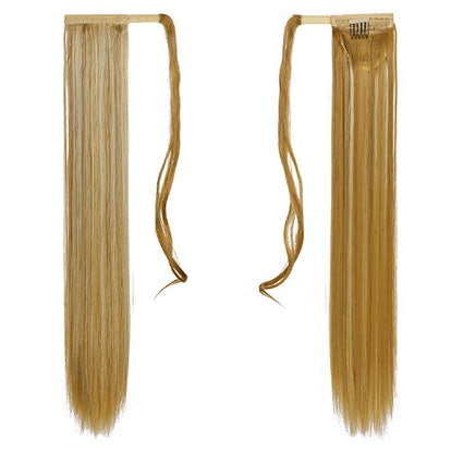 SARLA Straight Long Ponytail Hair Extension Clip in Golden Mix Beach Blonde Wrap Around Synthetic Fake Pony Tail Hairpiecs