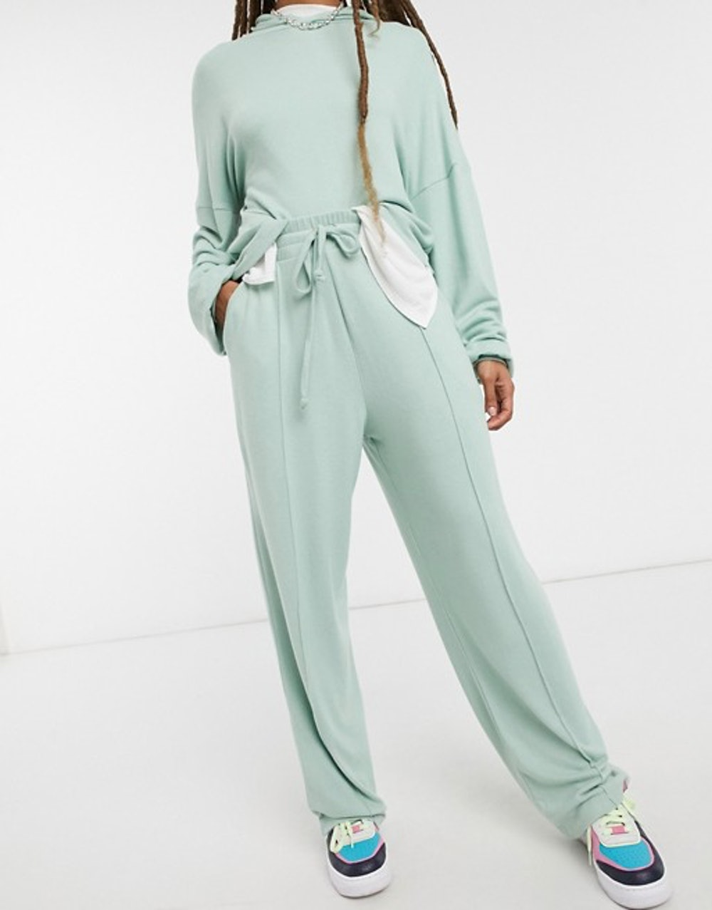 Fluffy Hoodie Tracksuit with Straight Leg Sweatpants