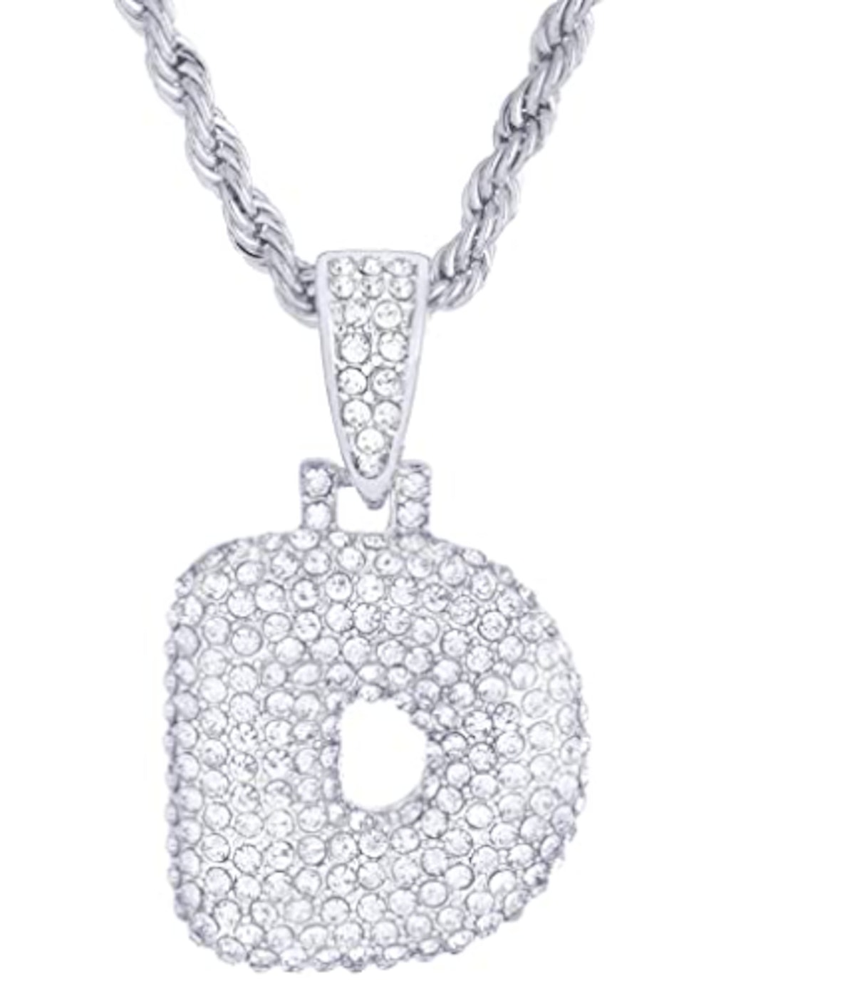 """Metaltree98 20"""" Chain A - Z Initial Bubble Letter Silver Plated Iced CZ Pendant Necklace"""