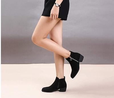CINAK Low Heel Double Zipper Booties