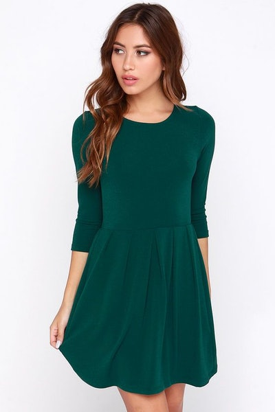 Keen About You Dark Green Skater Dress