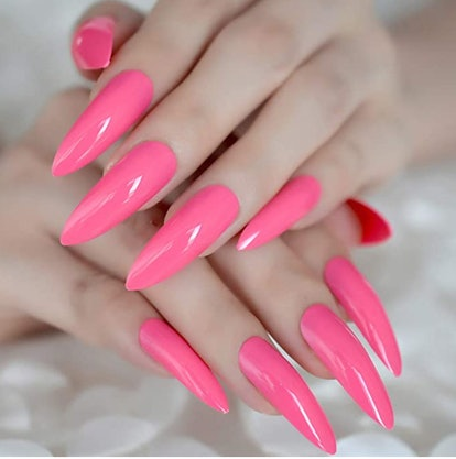 CoolNail Hot Pink Extra Long False Nails Stiletto Tips Oval