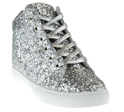 Foever Sparkle 25 Womens Glitter Lace Up Sneaker