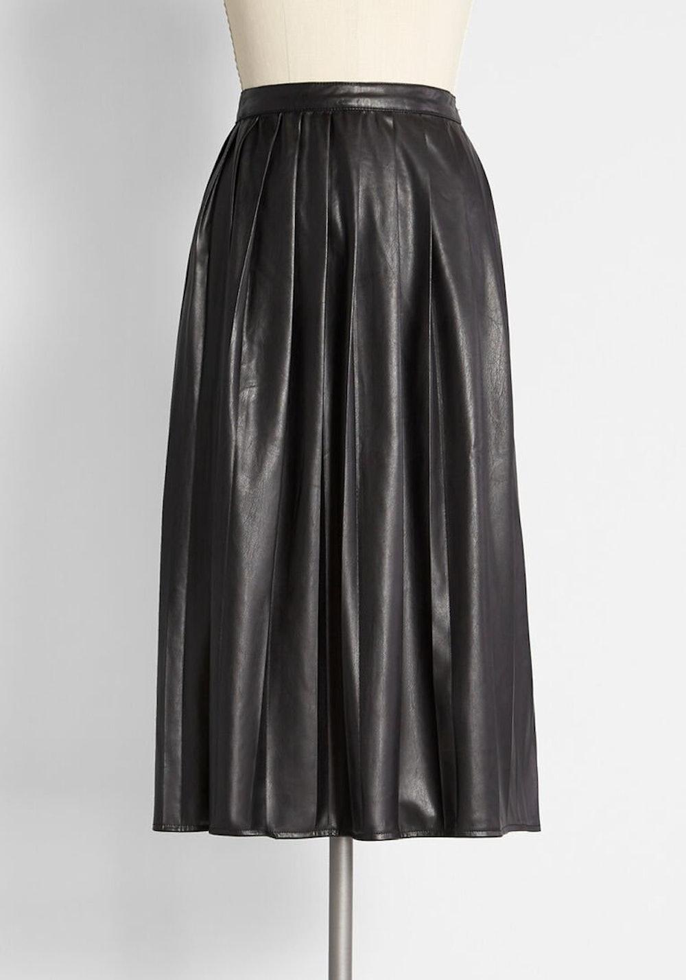 Sleek Pleats Faux-Leather Midi Skirt