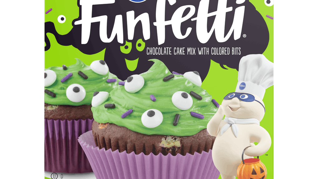 Pillsbury's new Funfetti Slime Cake Mix and Frosting includes Halloween-themed sprinkles.
