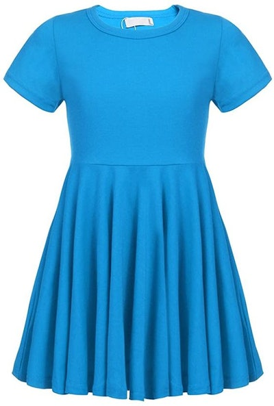 Girls' Summer Short Sleeve Cotton Pleated Party Twirly Skater Dress
