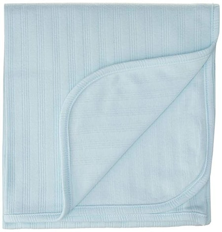 Touched by Nature Unisex Baby Organic Cotton Swaddle, Receiving and Multi-purpose Blanket, Blue, One Size