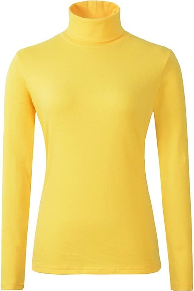 HieasyFit Women's Soft Cotton Turtleneck Top Basic Pullover Sweater