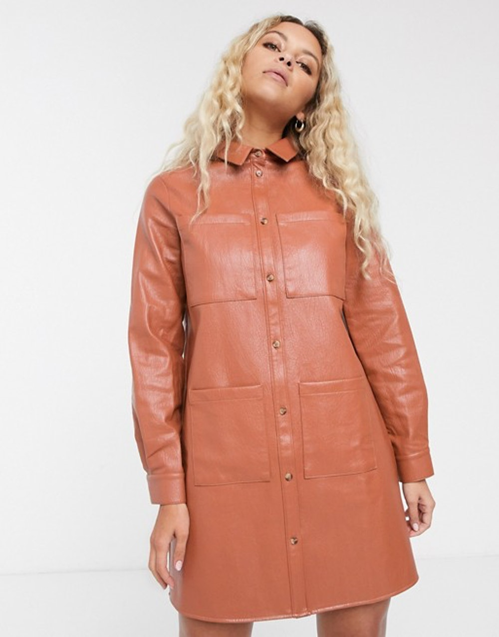 oversized leather look shirt dress in rust