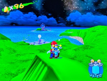 A still from Super Mario Sunshine that features Mario overlooking another island.