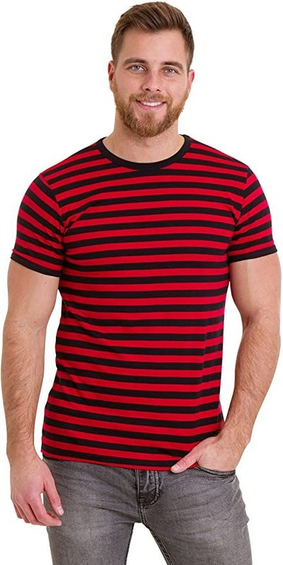 Run & Fly Mens 60's Retro Black & Red Striped Short Sleeve T Shirt