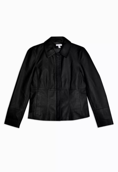 Black Leather Fitted Jacket