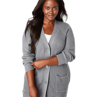 Woman Within Plus Size Shaker-Stitch Cardigan
