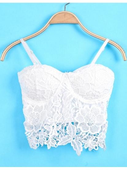 White Spaghetti Strap Floral Crochet Lace Cami Top