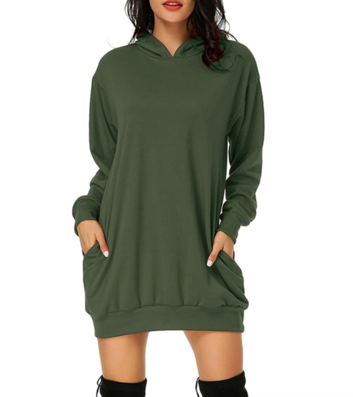 Auxo Women's Long Sleeve Hooded Pockets Pullover Hoodie Dress Tunic Sweatshirt