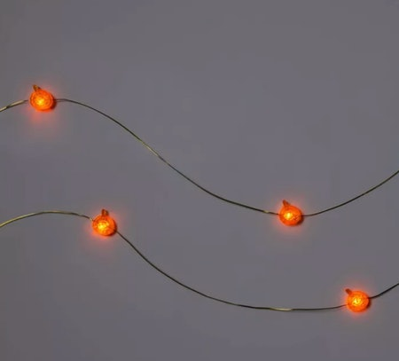 10ct Orange Pumpkin LED Battery-Powered Fairy String Lights with Timer