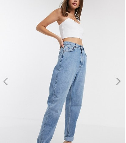 ASOS DESIGN Tall high rise 'slouchy' mom jeans in midwash