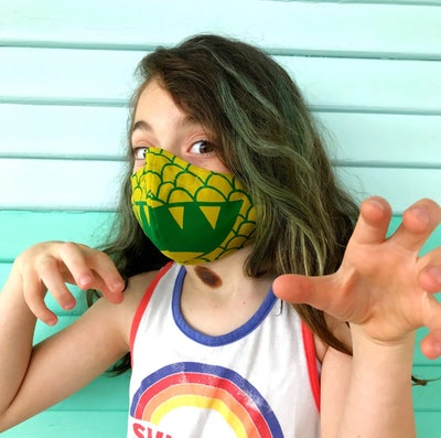 Child's Green Dragon Fabric Face Mask