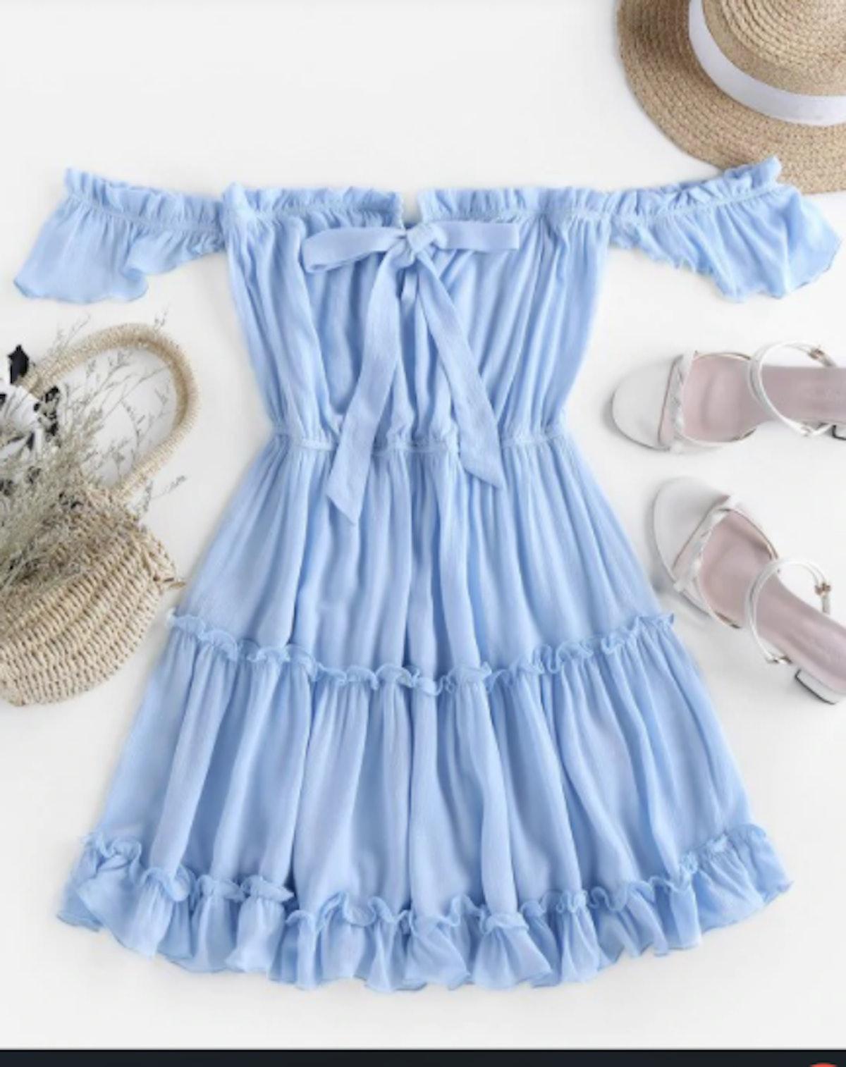 Off Shoulder Bowknot Ruffle Dress