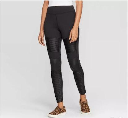 Women's High Waist Moto Leggings - A New Day™ Black