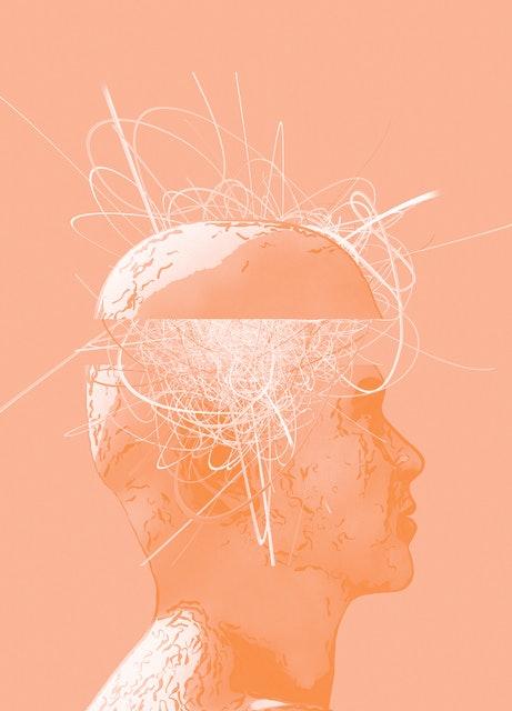 Human head with brain activity.