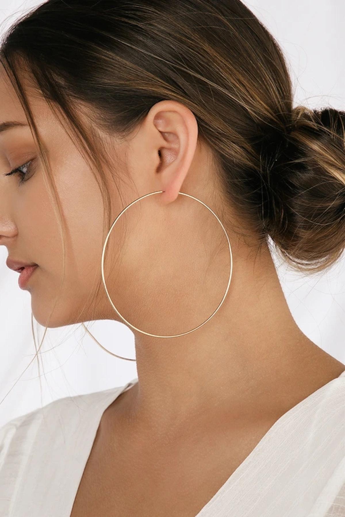 Keep Me Forever Oversized Gold Hoop Earrings