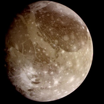 Ganymede, seen from the Galileo spacecraft in 1995.