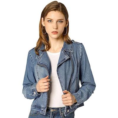 Allegra K Denim Notched Lapel Zip-Up Jacket