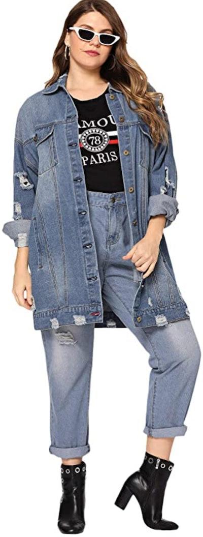 Floerns Oversized Long Distressed Denim Jacket
