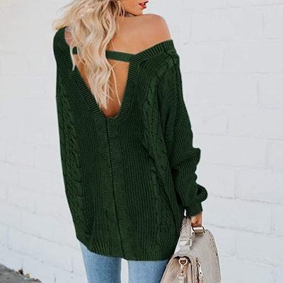 Yskkt Cable Knit V-Neck Sweater