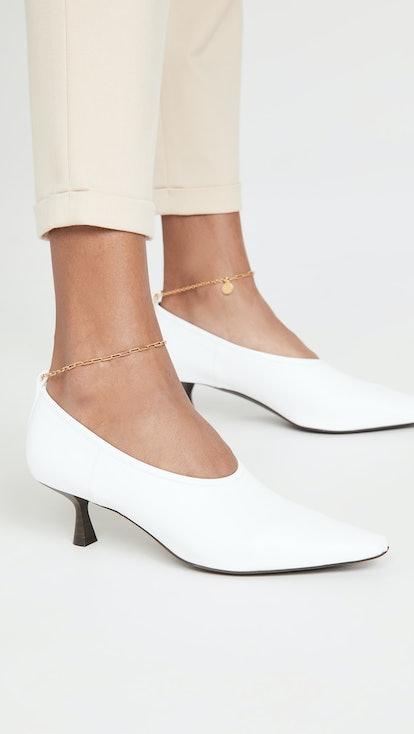Mid Heel Anklet Pumps