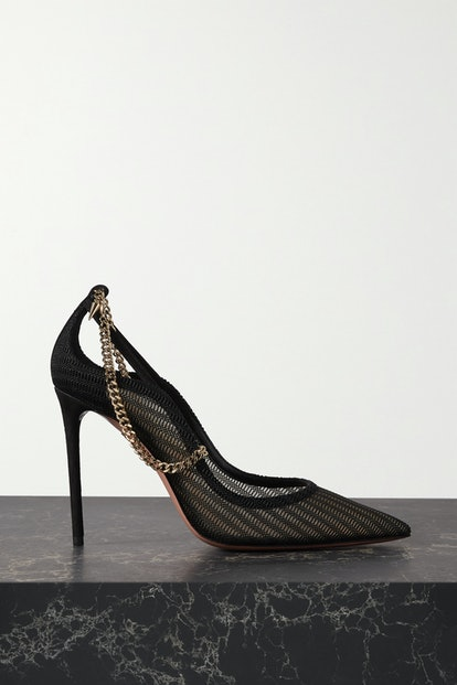 Bond Girl 105 Chain-Embellished Suede And Mesh Pumps
