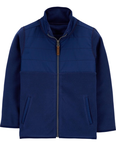 Zip-Up Fleece Jacket in Blue