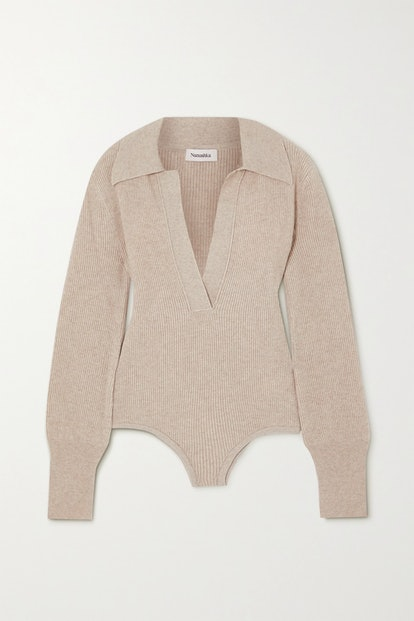 Azha Ribbed-Knit Bodysuit
