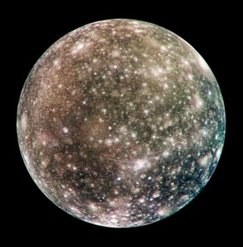 Callisto, whose deep surface scars suggest a long history of impacts.